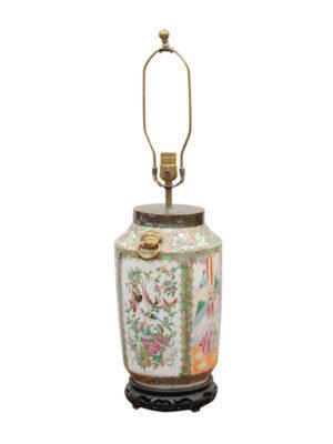 19th Century Rose Medallion Lamp