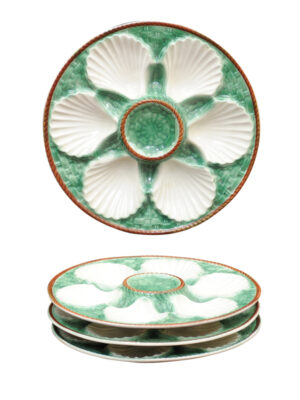 4 Majolica Oyster Plates