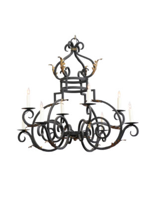 French Style Iron & Gilt Tole Chandelier