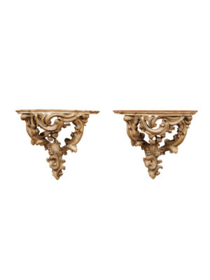 Large Louis XV Style Painted Wall Brackets
