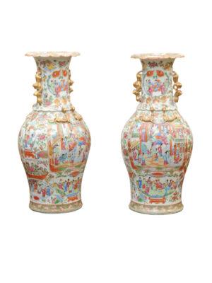 Pair 19th C. Rose Medallion Porcelain Vases
