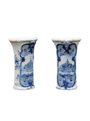 Pair Blue & White Delft Vases