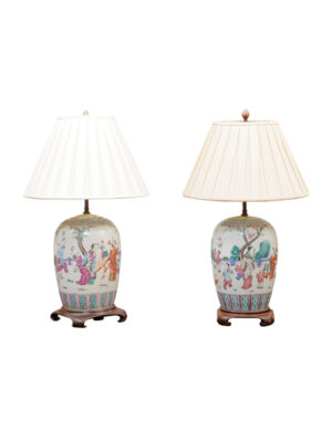 Pair Famille Rose Style Porcelain Lamps