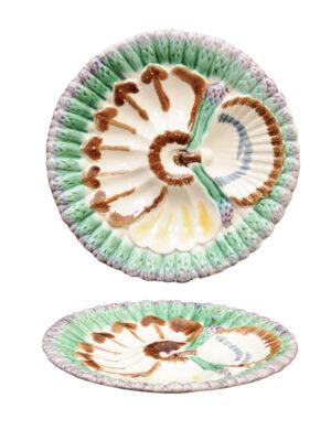 Pair Majolica Asparagus Plates