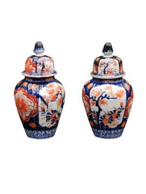 Pair of 19th C. Imari Jars with Lids