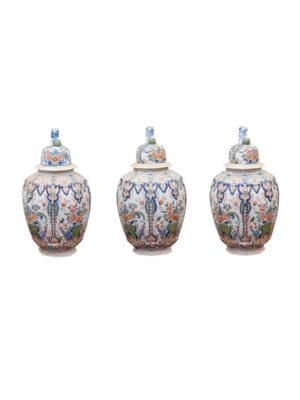 Set 3 Polychrome Delft Lidded Jars