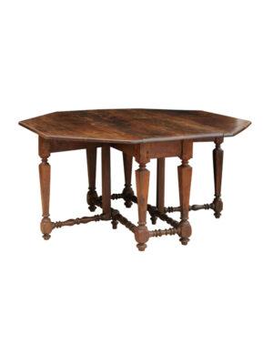 17th Century Italian Walnut Drop Leaf Dining Table