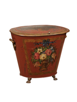 19th C. English Red Painted Tole Coal Hod