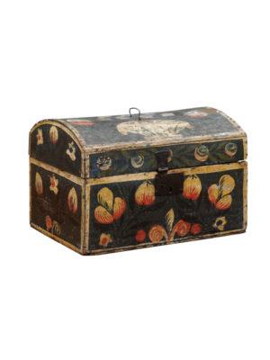 19th Century Blue Painted Bride's Box