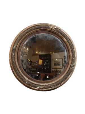 19th Century English Bullseye Mirror in Rubbed Finish