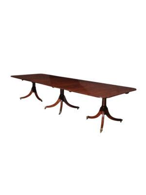 19th Century English Regency Style Triple Pedestal Dining Table