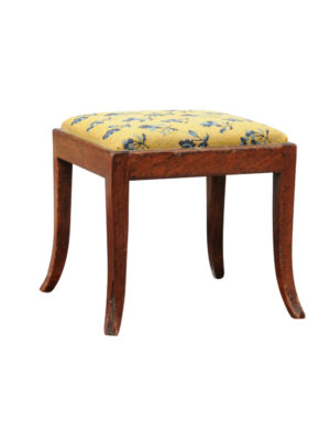 19th Century French Walnut Stool with Needlepoint Upholstery