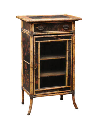 English Bamboo Vitrine with Floral Decoration