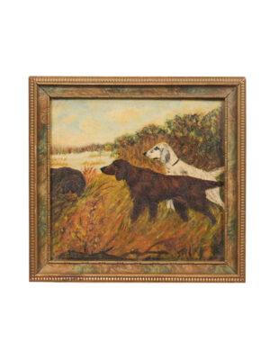 Framed Oil on Board Dog Painting