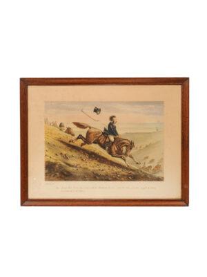 Framed Watercolor of Man on Horseback