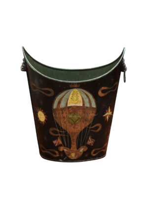 French Style Tole Waste Basket with Hot Air Balloon Motif