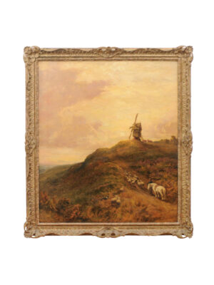 Giltwood Framed Oil on Canvas Landscape Painting with Sheep