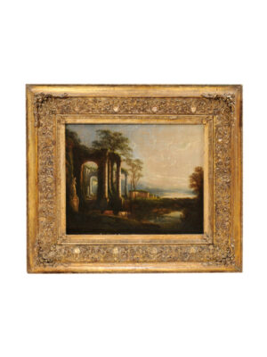 Gilt Framed Italian Oil on Canvas Landscape Painting