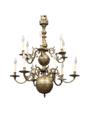 Large Dutch Brass Chandelier with 12 Lights