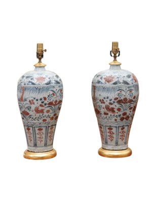 Pair Chinese Export Crackle Glaze Lamps