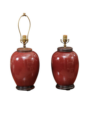 Pair Chinese Oxblood Porcelain Lamps