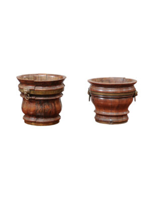 Pair English Brass Banded Planters