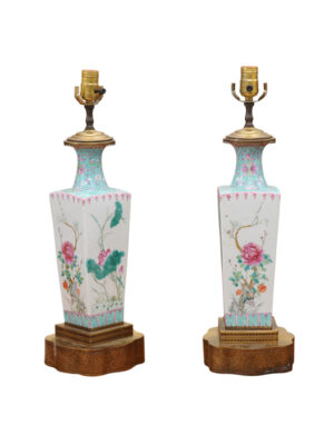 Pair Famille Rose Style Lamps