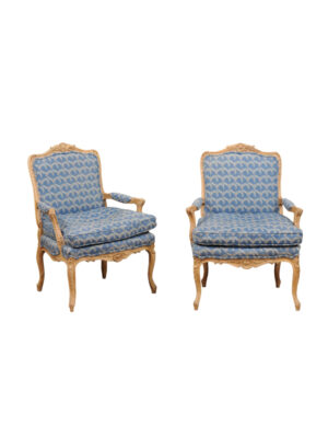 Pair Louis XV Style Painted Fauteuils