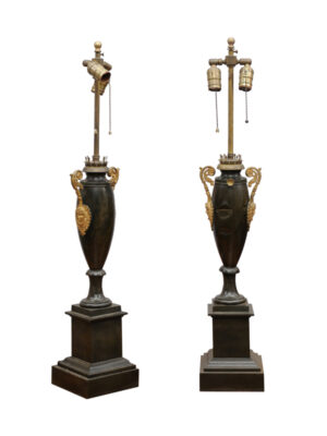 Pair of 19th C Empire Lamps