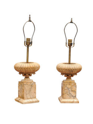 Pair of 19th C. French Stone Coupe Lamps