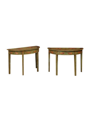 Pair of Green Painted Console Tables