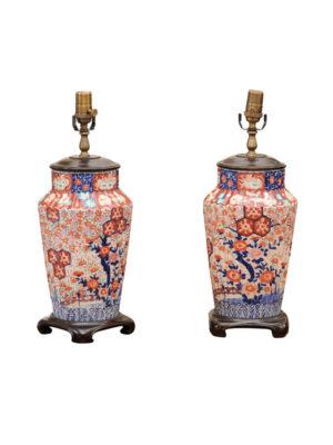 Pair of Japanese Imari Lamps
