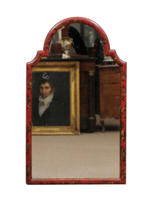 Queen Anne Style Red Chinoiserie Mirror