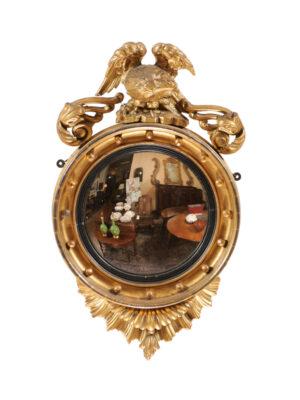 Regency Style Bullseye Mirror with Eagle Crest