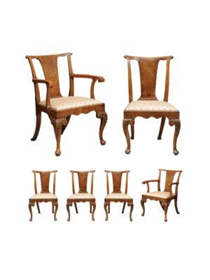 Set Georgian Walnut Dining Chairs