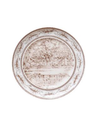 Vintage Brown Transferware Style Plate
